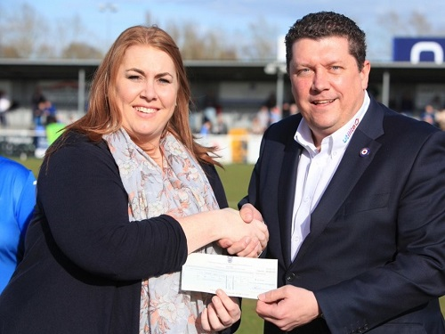Eastleigh Football Club presents Cheque to Young Carers