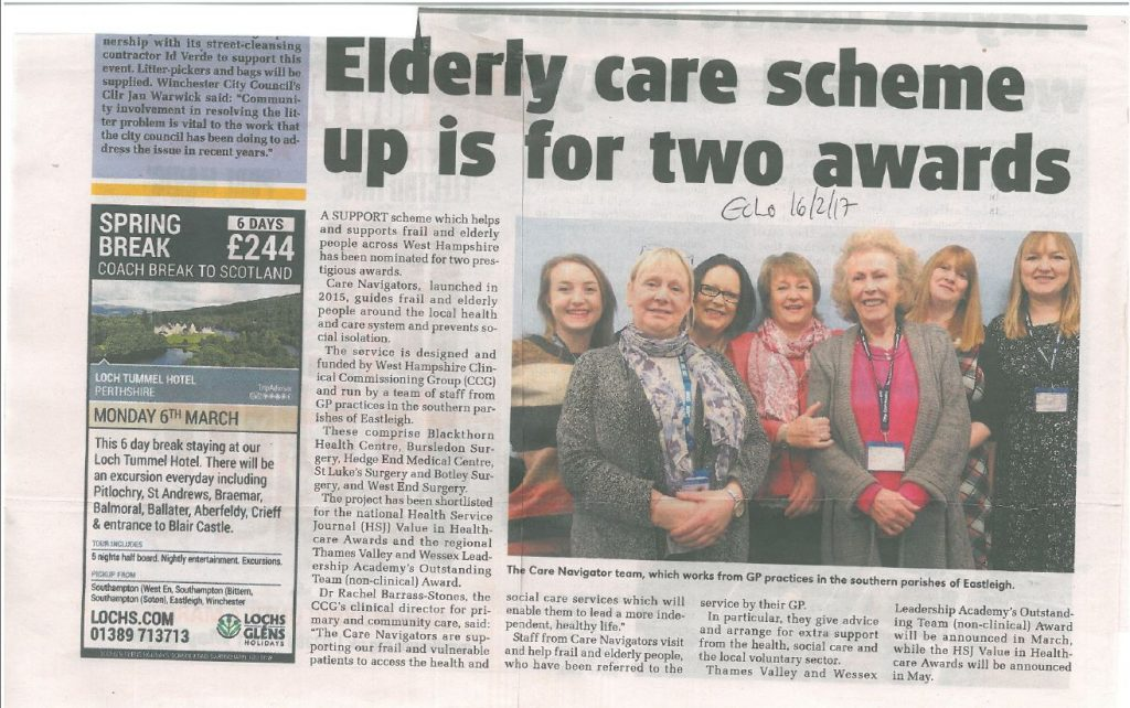 Care scheme up for awards