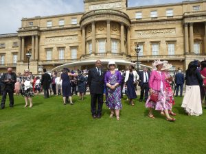Chair and Chief Executive of One Community, Professor Sri Kandiah and Jean Roberts-Jones, at the Buckingham Palace Garden Party